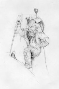 Backcountry skier drawing