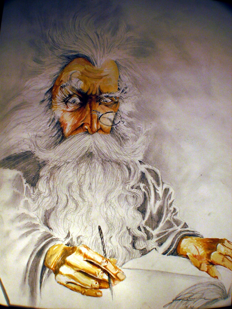 Wizard pencil and watercolor drawing